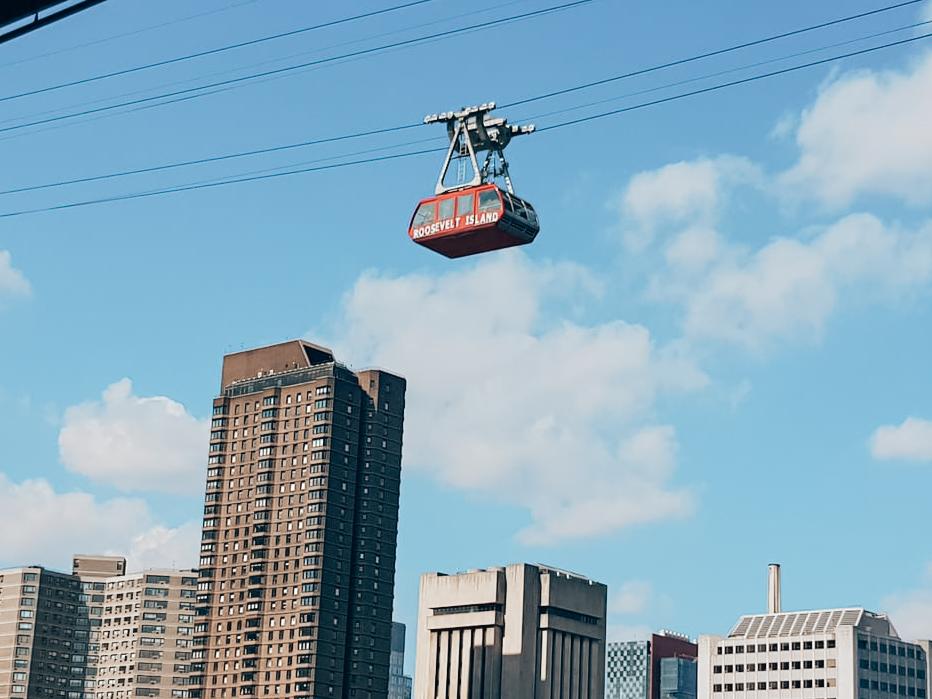 Gratis in New York Roosevelt Tramway in de lucht